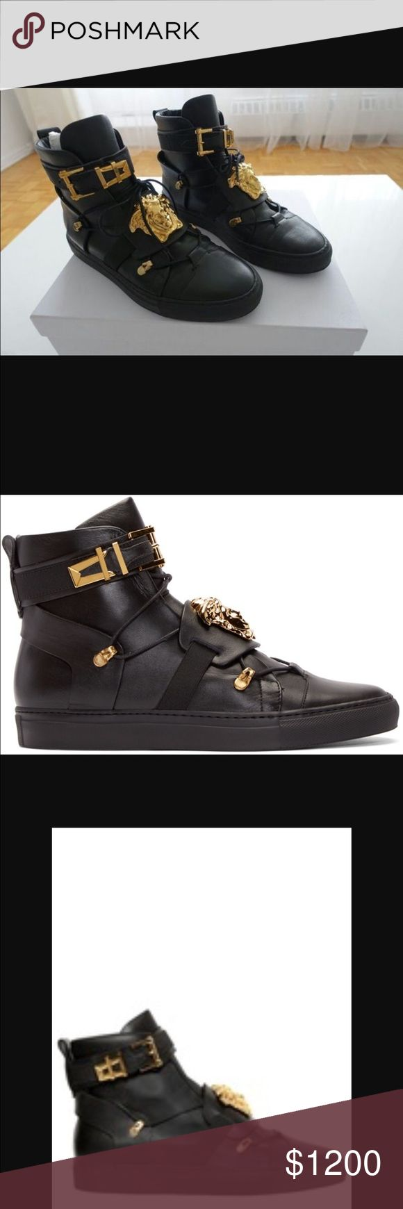 Versace sneakers Black leather sneakers with Gold accents Versace Shoes Sneakers