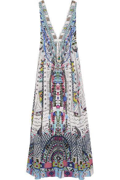 Camilla - Maasai Mosh Crystal-embellished Printed Silk Crepe De Chine Maxi Dress - Storm blue - UK12