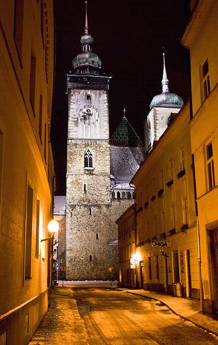 St. Jacob the Greater Church in Jihlava at night. Jihlava is a centre of the Vysočina Region, situated on the Jihlava river on the historical border between Moravia and Bohemia, and is the oldest mining town in the Czech Republic.