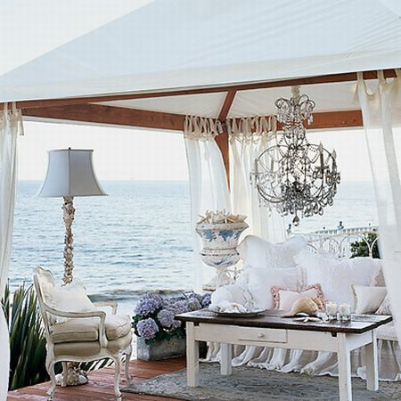 If you're gonna dream, dream big!!Crystals Chand, Romantic Room, Dreams, The Ocean, Outdoor Living Room, Outdoor Room, Coastal Living, Beach, Outdoor Spaces