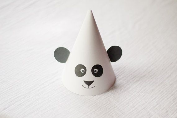 Printable Party Hats  Panda Birthday Party by PrintsForEvents