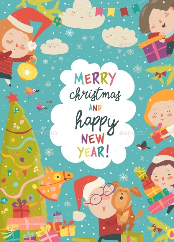 Christmas Frame with Cartoon Children Vector illustration Download