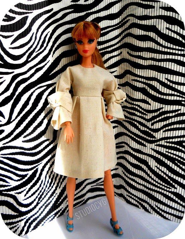 MiniatureCloting: PLEATED DRESS FOR BARBIE