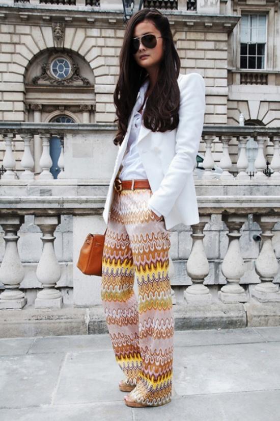 so cool Fashion, Prints Pants, Printed Pants, White Blazers, Style, Clothing, Closets, Missoni Pants, Pattern Pants