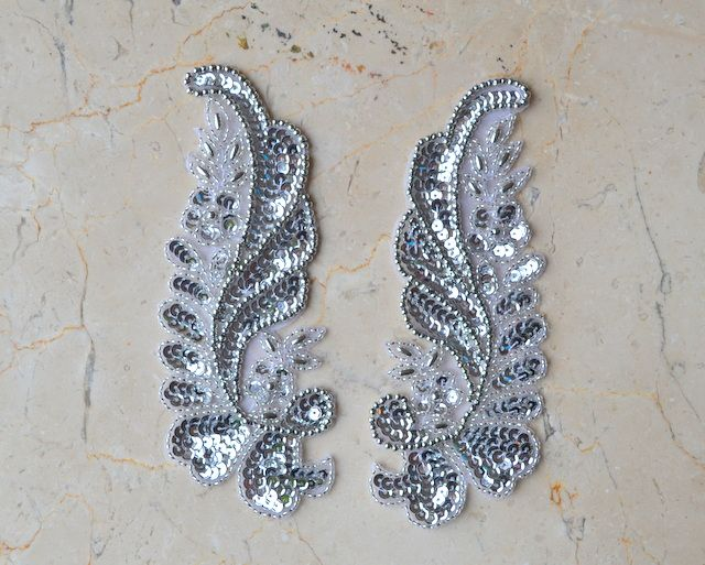 Matching Floral Leaf Applique [M12] - $5.00 : Shine Trim Something like this for sleeve or use cut out from paisley pattern with added stones or sequins to trim