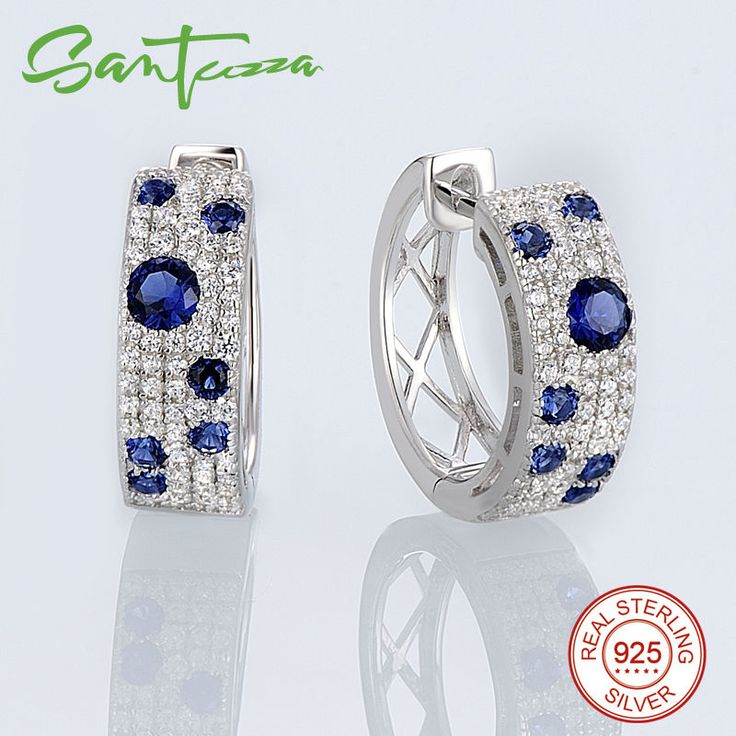 925 Sterling Silver Earrings for Women Blue Cubic Zirconia Women Earrings Party Fashion Jewelry