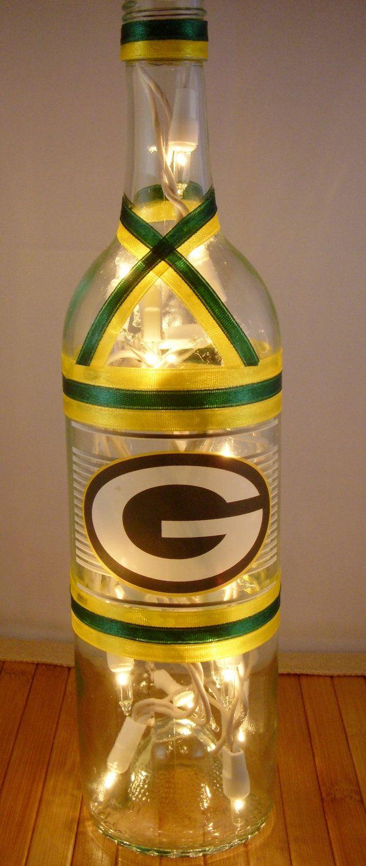 Green Bay Packers Wine Bottle Lamp 25 00 Via Etsy