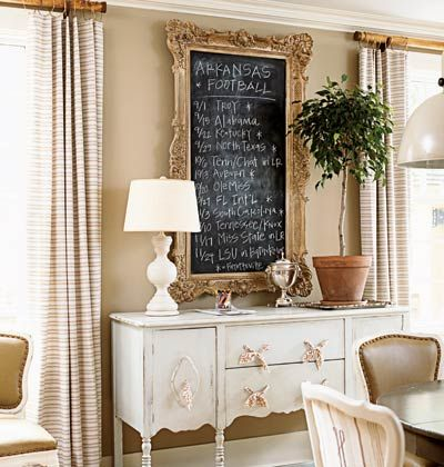 An old sideboard found at a yard sale became a pretty new storage piece with the help of a coat of paint and fabric-tie drawer pulls.