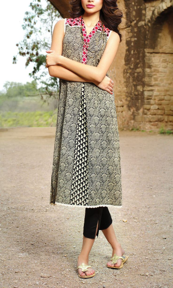 Buy Black Printed Cotton Lawn Suit by Khaadi Lawn Kurti collection Vol.II 2015.