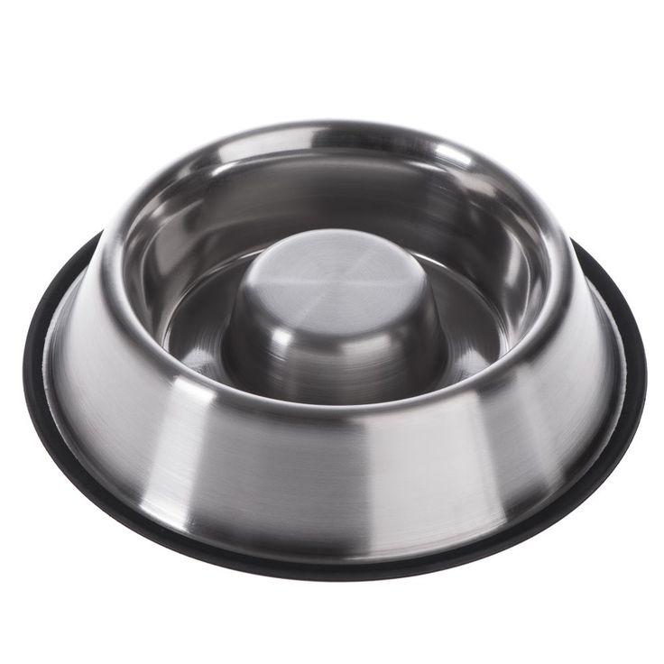 Animalerie  Gamelle anti-glouton en inox pour chien  capacité 530 mL 225 cm de diamètre