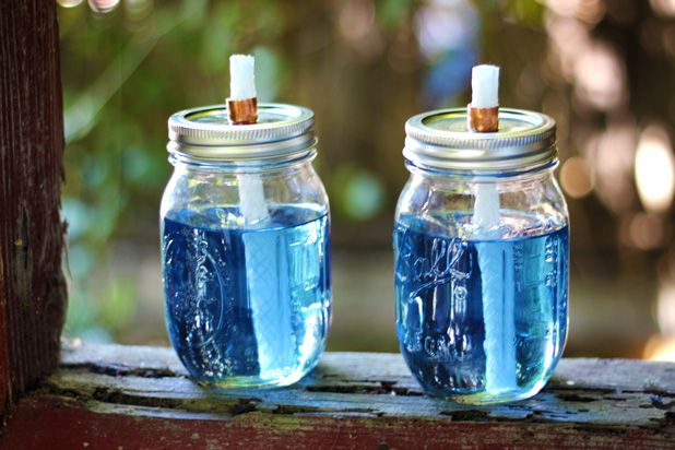 How to Make Mason Jar Citronella Torches  Great for camping or just hanging out in the yard.  Read more : http://www.ehow.com/how_12340110_make-mason-jar-citronella-torches.html