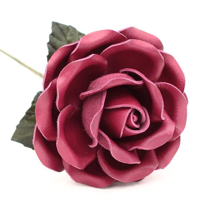 Leather Rose Long Stem Flower - Burgundy Red