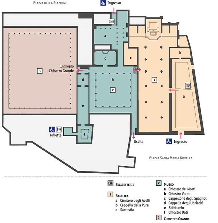 Complesso di Santa Maria Novella - 1 - Basilica di Santa Maria Novella; 2 - Museo (Chiostro dei Morti, Chiostro Verde, Cappellone degli Spagnoli, Cappella degli Ubriachi e Refettorio); 3 - Chiostro Grande