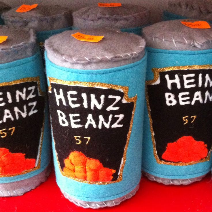 Heinz Baked Beans in felt by Lucy Sparrow