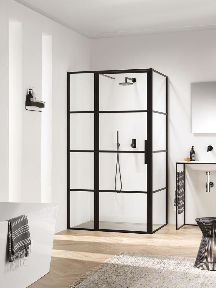 Met deze trendy douchecabine van Sealskin is je badkamer helemaal volgens de laatste trends. Voor een extra stoer effect combineer je deze zwarte douchecabine met een zwarte kraan of zwarte douche. #zwartedouche #zwartekraan