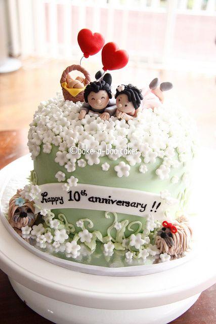 10th Wedding Anniversary Cake by Bake-a-boo Cakes NZ, via Flickr