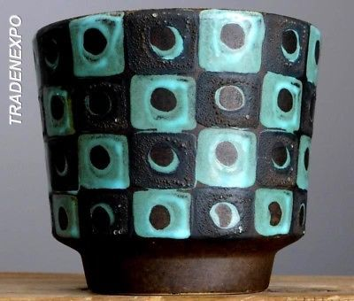 RETRO-Vintage-60-70-039-s-SCHLOSSBERG-Planter-Pot-W-German-Pottery-Fat-Lava-Vase-Era