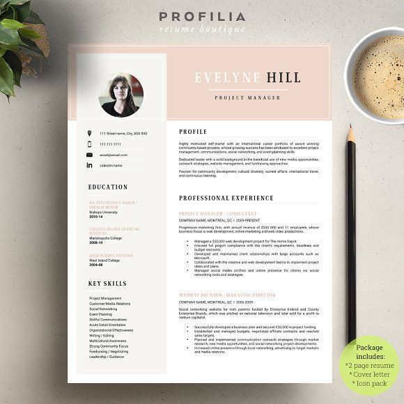 Word Resume & Cover letter Template by Profilia Resume Boutique on @creativemarket Professional printable resume / cv cover letter template examples creative design and great covers, perfect in modern and stylish corporate business design. Modern, simple, clean, minimal and feminine style. Ready to print us letter and a4 layout inspiration to grab some ideas. In psd, indd, docs, ms word file format. #resume #cv #template #professional #word #modern #creative #design