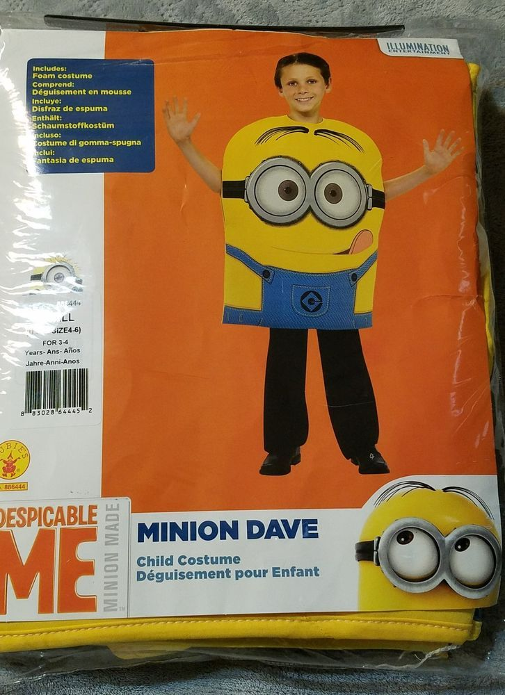 Despicable Me Minion Dave Costume Size Small 4-6, Minion, Halloween Costume, Boy