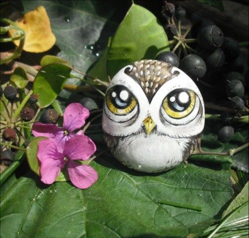 Hand-painted Rock Art Magnet - Owl