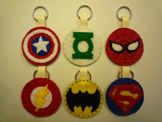 Felt Superhero Logo Keychains, Set of 6 on Etsy, £6.76