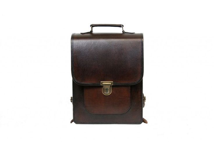 The Tito small leather backpack is handmade from natural leather