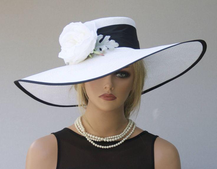 Wide Brim Hat, Wedding Hat, Formal Hat Kentucky Derby Hat, Dressy Hat, Black and White Hat, Elegant Hat, Sophisticated Hat Big hat Event Hat