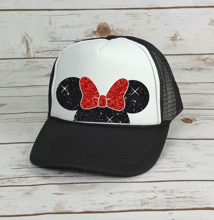 Disney Trucker Hat Minnie Mouse Bow // Cinderella Castle // Princess // Minnie Mouse Ears // Mickey Mouse (TRUCKER HAT) by BellaDesignsStl on Etsy https://www.etsy.com/listing/470759341/disney-trucker-hat-minnie-mouse-bow