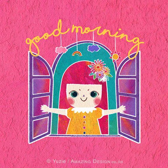 """Yuzie's illustration """"good morning"""".「おはよう」 #illustrator #illustration #creator #design #designer #kawaii #pretty #unjour #girl #かわいい #可愛い #メルヘン #イラスト #おしゃれ"""