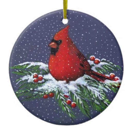 CHRISTMAS CARDINAL: BIRD: SNOW: ART CHRISTMAS TREE ORNAMENT Artwork designed by joyart. Made by Zazzle Home in San Jose, CA. #madeinusa