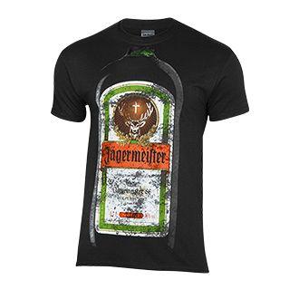 Oldie but Goldie - auch im Alter unverändert gut. Schwarzes Jägermeister-T-Shirt mit Flaschen-Aufdruck im 'Used'-Look. Material: 100% Baumwolle.