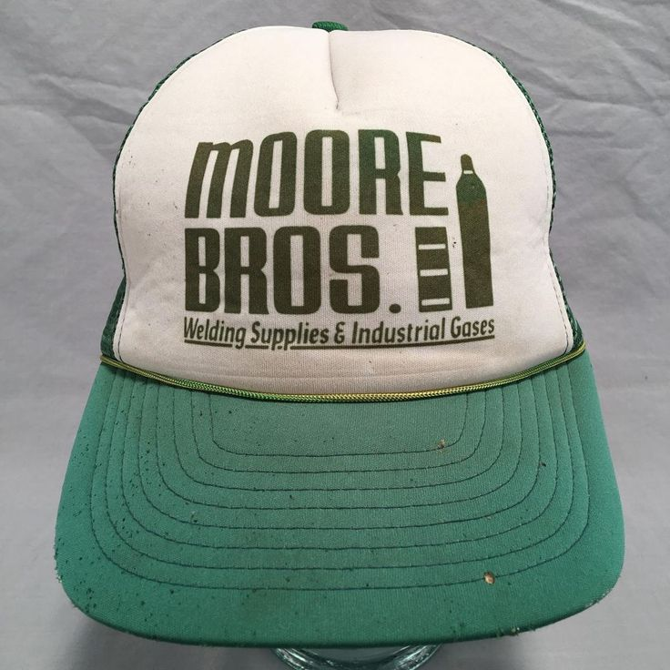 Vtg Moore Bros Welding Supplies Distressed Green White Trucker Snapback Hat Cap #NotNoted #TruckerCap