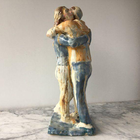 Aeloa Creative Gr/ès Embrasser Amoureux Couples Statue Sculpture /À La Main Figurine Art Artisanat Flor Table Bureau D/écor