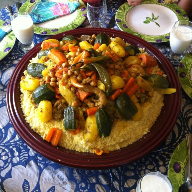 Couscous is a Moroccan national delicacy, that is commonly seen accompanying many different meats, at various meal times. Couscous is made of semolina, granules made of durum wheat, traditionally served with stewed rice and meat over it.