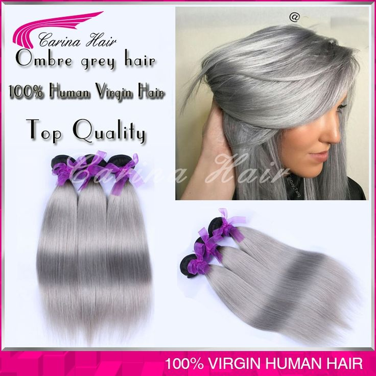 Top Grade Ombre Grey Indian Human Hair Extensions 3 Bundles Indian Straight Virgin Hair Color Two Tone Gray Hair Free Shipping