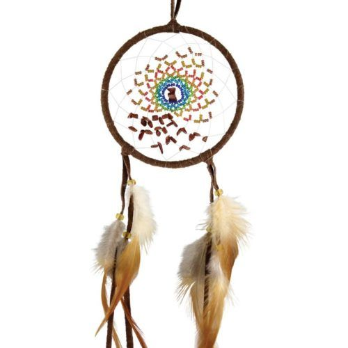 The Energy Flow Dream Catcher is made from brown leather. The webbing is detailed with multi-coloured beads and goldstone semi-precious stones.