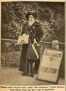 "Princess Sophia Alexandra Duleep Singh (8 August 1876 – 22 August 1948)[1] was a prominent suffragette in the United Kingdom. Her father was Maharaja Duleep Singh, son of Maharaja Ranjit Singh, known as the ""Lion of the Punjab"""