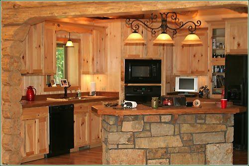 Kitchen island designs for log homes photo courtesy of for Log cabin kitchen islands