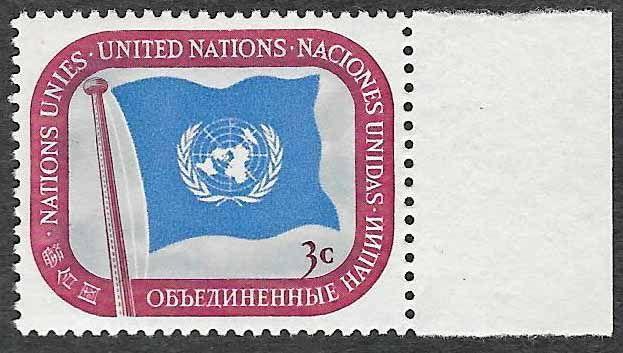 UN NYC Scott #4 - UN Flag - 3 cents - Mint Never Hinged