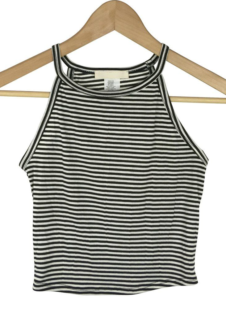 - striped racer neck crop - high neck - all over stripe pattern - black and white color - 95% rayon and 5% spnadex - made in USA