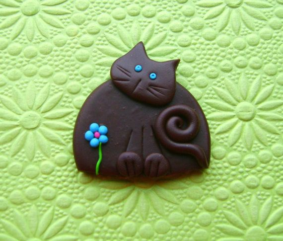 Polymer Clay Brown Cat with blue flower Brooch or by Coloraudia, $10.00