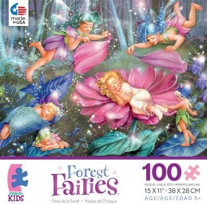 Leśne wróżki - Puzzle 100 elementów - Piękne ilustracje, pełne głębokich barw i zdecydowanych kresek zachwycą wszystkich wielbicieli puzzli. Dodatkowo, wspaniałe krajobrazy przeniosą Was prosto do świata wyjątkowych podróży.