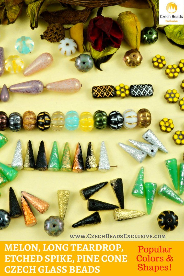 Czech Glass Melon, Long Teardrop, Etched Spike, Pine Cone Beads  Popular Colors & Shapes!- Buy now with discount!  Hurry up - sold out very fast! www.CzechBeadsExclusive.com/newarrivals SAVE them! #czechbeadsexclusive #czechbeads