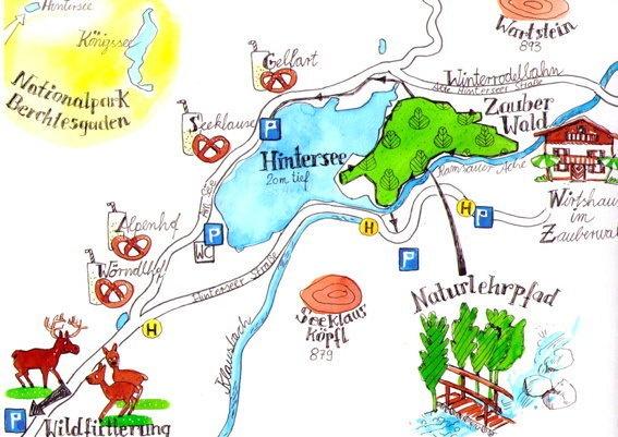 Berchtesgaden, Austria, hand drawn. Aquarell und Tusche Zeichnung.