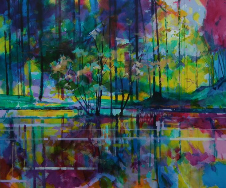 Meadowcliff Pond - Forest of Dean ref: 013-002     http://www.dougeaton.co.uk/painting/469-Meadowcliff_Pond_SOLD