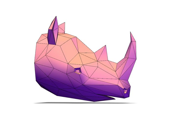 Lowpoly rhinoceros - a 3D model created with VECTARY - the free online 3D modeling tool #3Dprinting