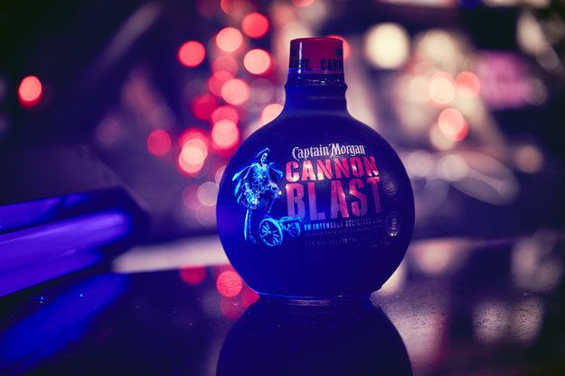 Make your next black light party special with Captain Morgan® Cannon Blast — the only rum bottle that glows in black light and is also a cannonball. | 11 Items That You Have To Get For Your Next Black Light Party