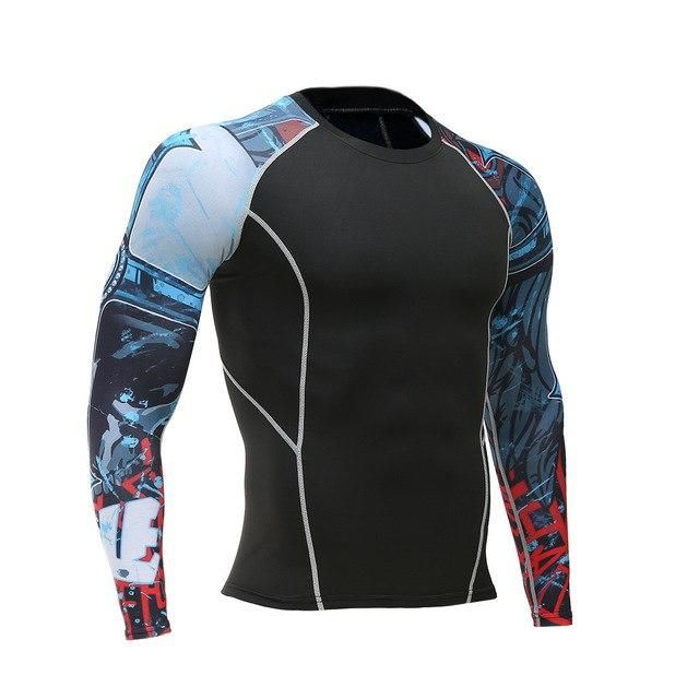 Mens Compression Shirts 3D Teen Wolf Jerseys Long Sleeve Cycling Fitness Men Sports Base Layers Mma Tights Jersey Clothing