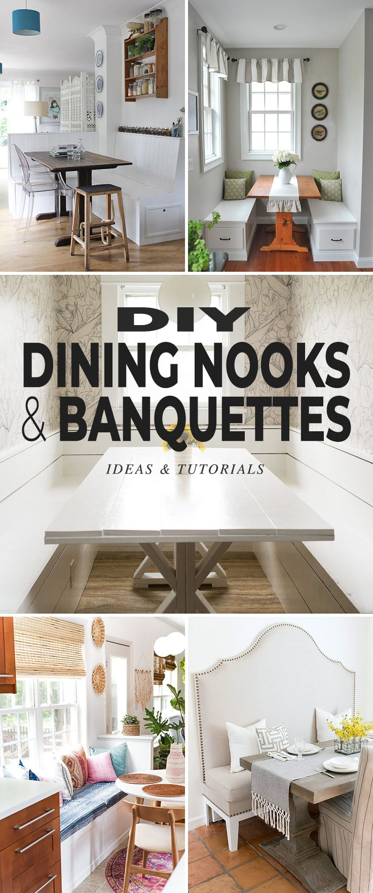 DIY Dining Nooks and Banquettes! • Lots of great ideas, projects and tutorials on how to build your own! #DIYdiningnooks #DIYbanquettes #DIY #DIYnooks #diningnook #DIYkitchenprojects