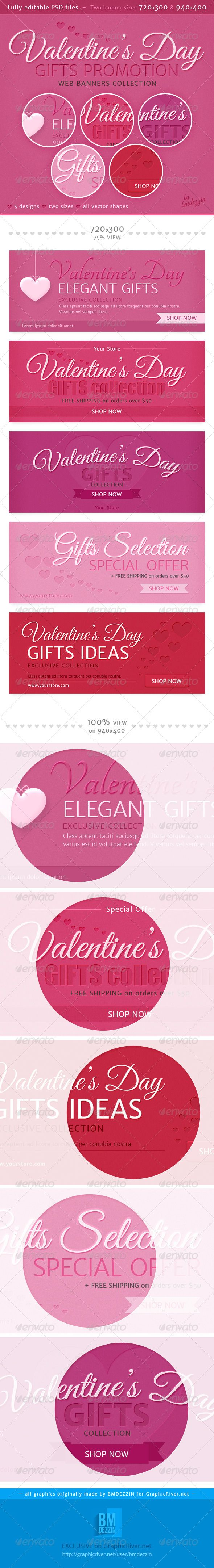 Valentine's Day Gifts Promotion Web Banners Template PSD | Buy and Download: http://graphicriver.net/item/valentines-day-gifts-promotion-web-banners/6728973?WT.ac=category_thumb&WT.z_author=bmdezzin&ref=ksioks